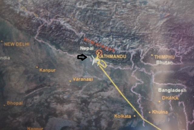 plane map with arrow