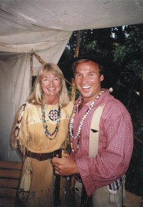 Montana, at the Mountain Man Rendezvou, in a native American deer skin dress loaned to me. It was SO soft!