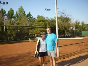 Our first time on clay at the International Sporting Club, where the local players were very welcoming!